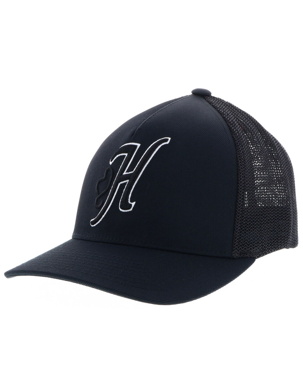 HOOey Men's Black Skipper FlexFit Cap , Black, hi-res