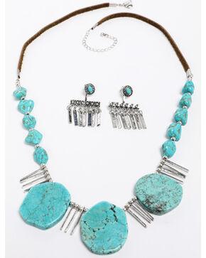 Shyanne Women's Emma Rae 3 Turquoise Stone Dagger Necklace Set, Turquoise, hi-res