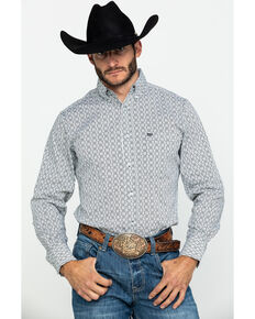 Wrangler 20X Men's Box Geo Print Performance Long Sleeve Western Shirt , Black/white, hi-res