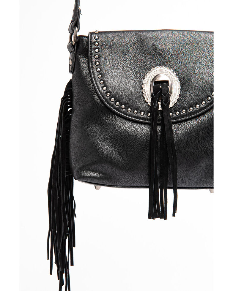 Shyanne Women's Black Kinsey Fringed Concho Leather Crossbody Handbag, Black, hi-res