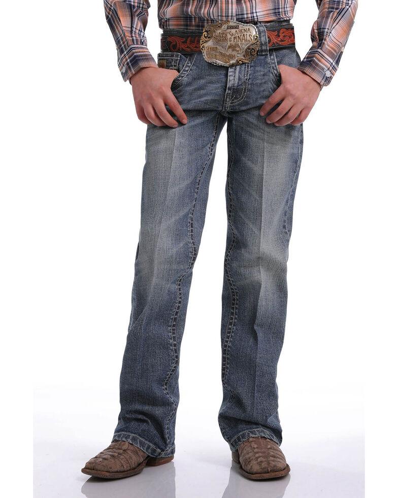 Cinch Boys' Medium Stonewash Stretch Slim Boot Jeans , Blue, hi-res