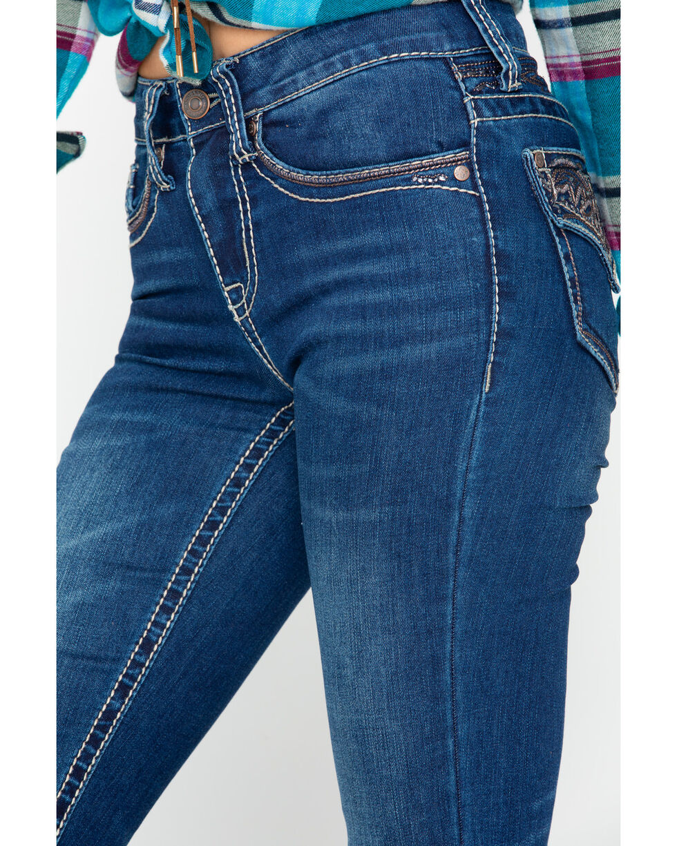 Shyanne Women's Skinny Yokestitch Flex Flap Jeans, Blue, hi-res