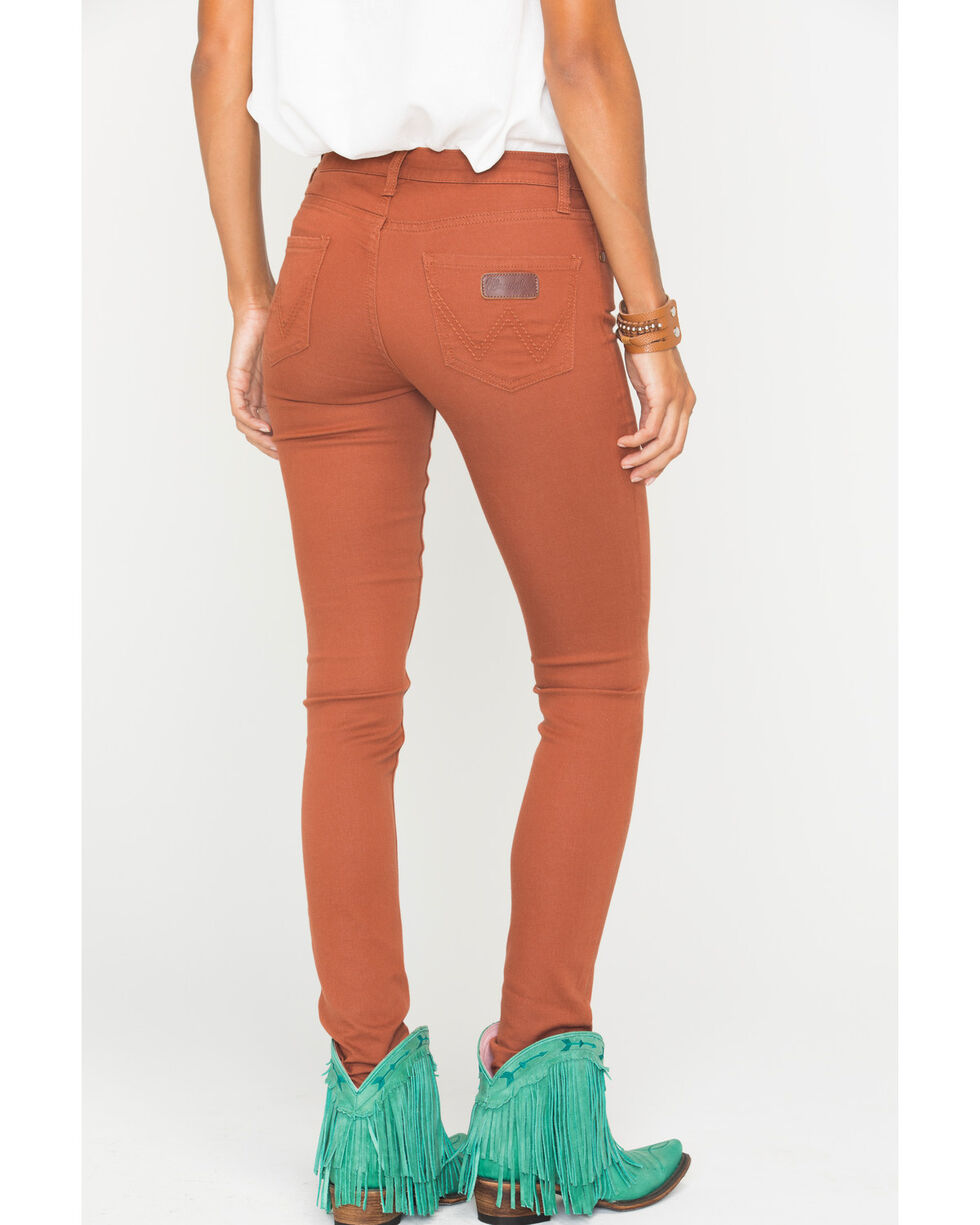 Wrangler Women's Premium Patch Skinny Jeans, Orange, hi-res