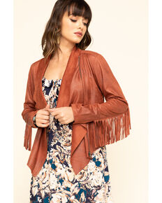 Shyanne Women's Rust Faux Suede Fringe Jacket, Red/brown, hi-res