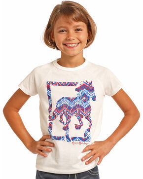 Rock & Roll Cowgirl Girls' Americana Horse Tee, White, hi-res