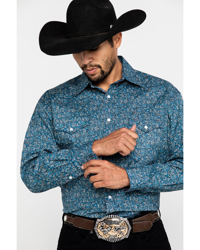 Rough Stock By Panhandle Men's Locarno Paisley Print Long Sleeve Western Shirt , Blue, hi-res