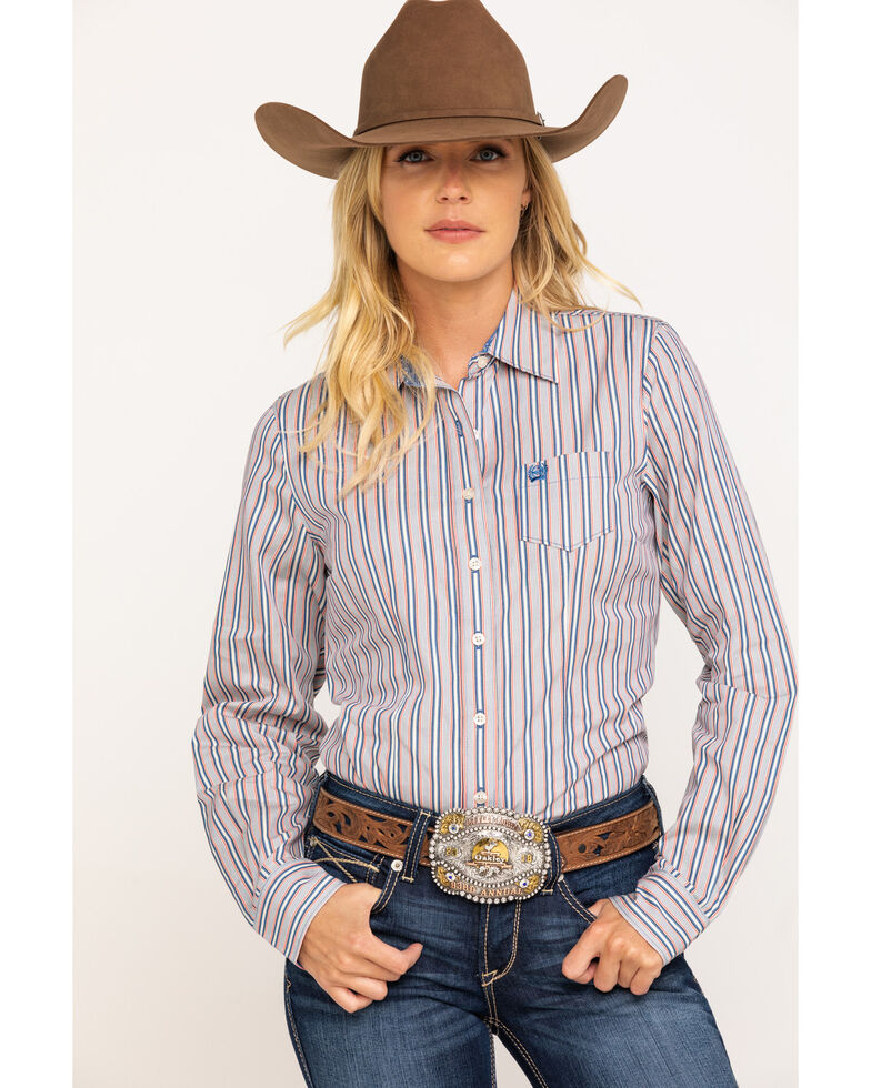 Cinch Women's Stripe Core Long Sleeve Western Shirt, Multi, hi-res