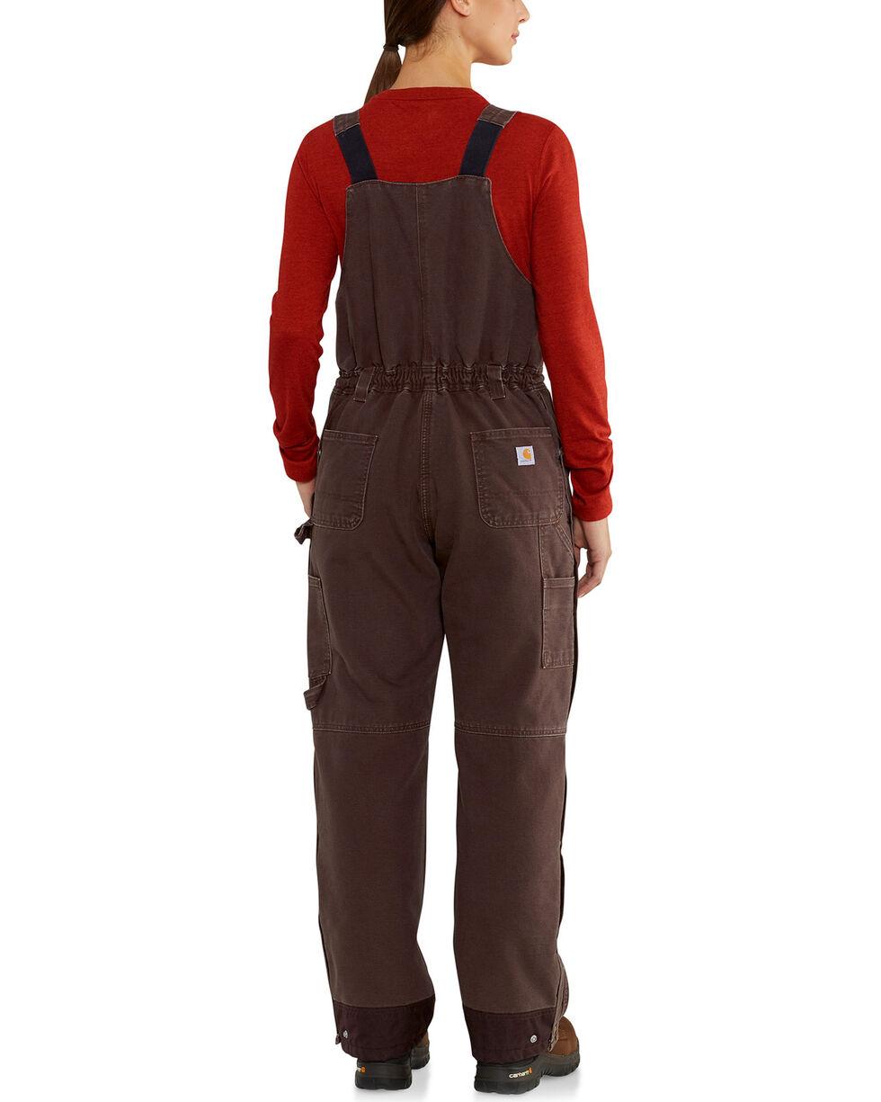 Carhartt Women's Weathered Duck Wildwood Bib Overalls , Dark Brown, hi-res