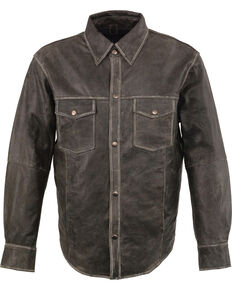 Milwaukee Leather Men's Grey Lightweight Leather Shirt - Big & Tall, Grey, hi-res