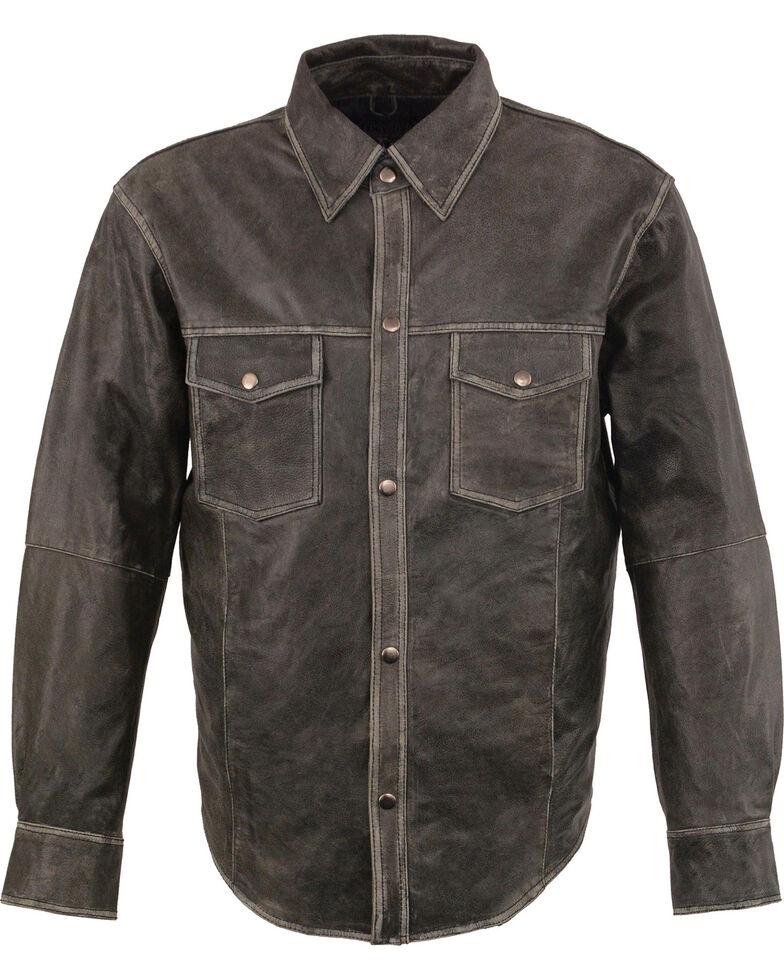 Milwaukee Leather Men's Grey Lightweight Leather Shirt - Big & Tall, Grey, hi-res