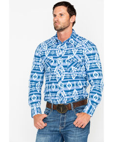 Rock & Roll Cowboy Men's Striped Aztec Print Long Sleeve Western Shirt, Light Blue, hi-res