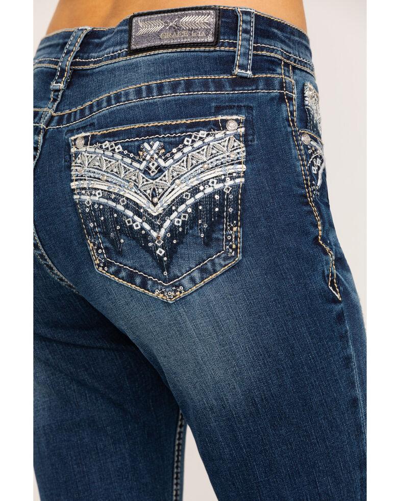 Grace in LA Women's Medium Chandelier Bootcut Jeans , Blue, hi-res