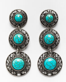 Shyanne Women's Triple Round Concho Gem Earrings , Silver, hi-res
