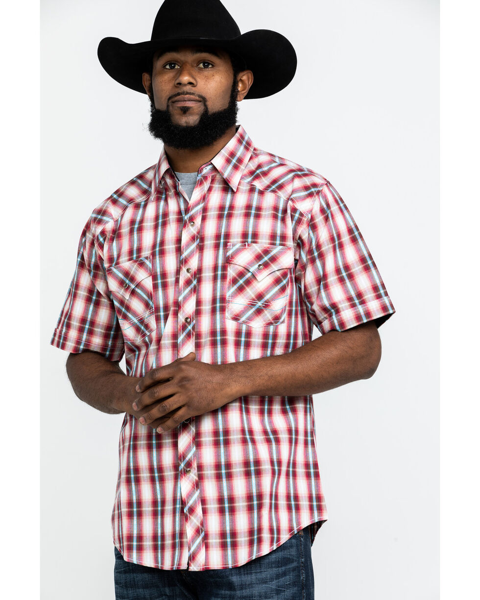 Ely Cattleman Men's Assorted 1878 Aztec Dobby Plaid Short Sleeve Western Shirt , Multi, hi-res