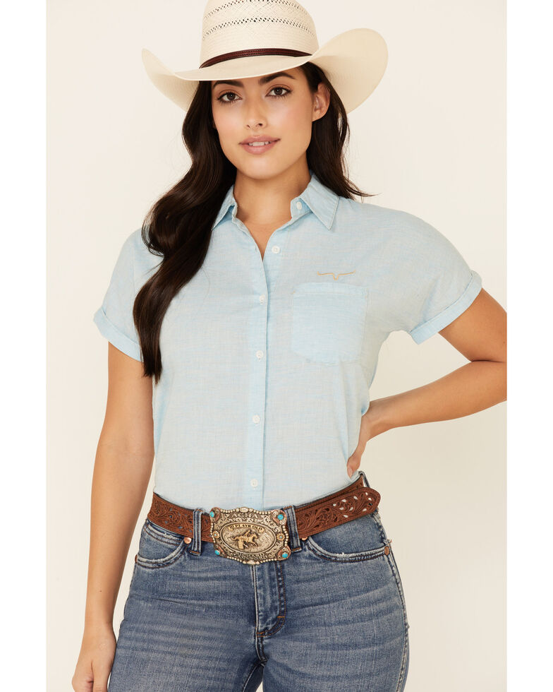 Kimes Ranch Women's Ranchester Short Sleeve Button-Down Western Shirt, Turquoise, hi-res