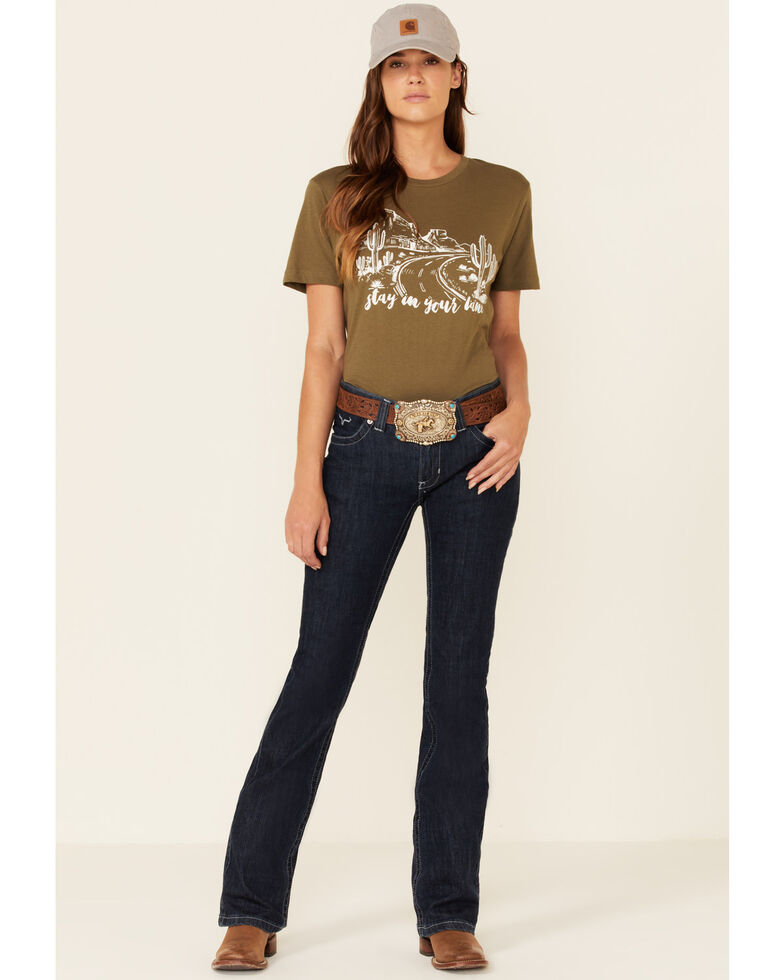 Ranch Dress'n Women's Stay In Your Lane Graphic Tee , Olive, hi-res
