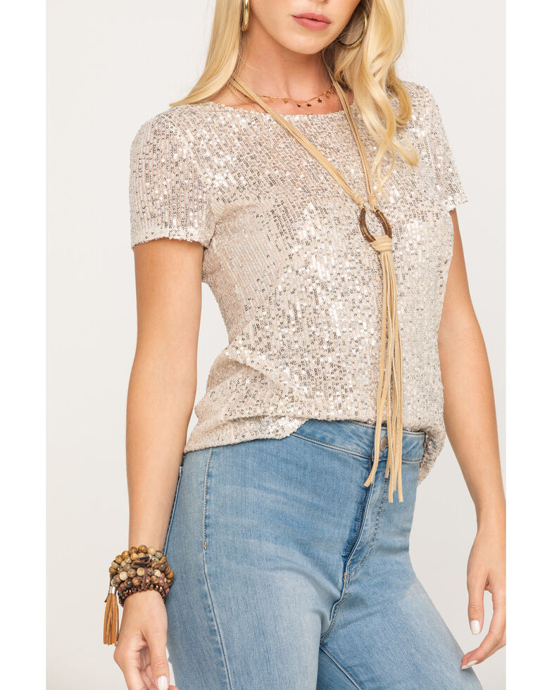 Miss Me Women's Gold Sequin Short Sleeve Top, Gold, hi-res