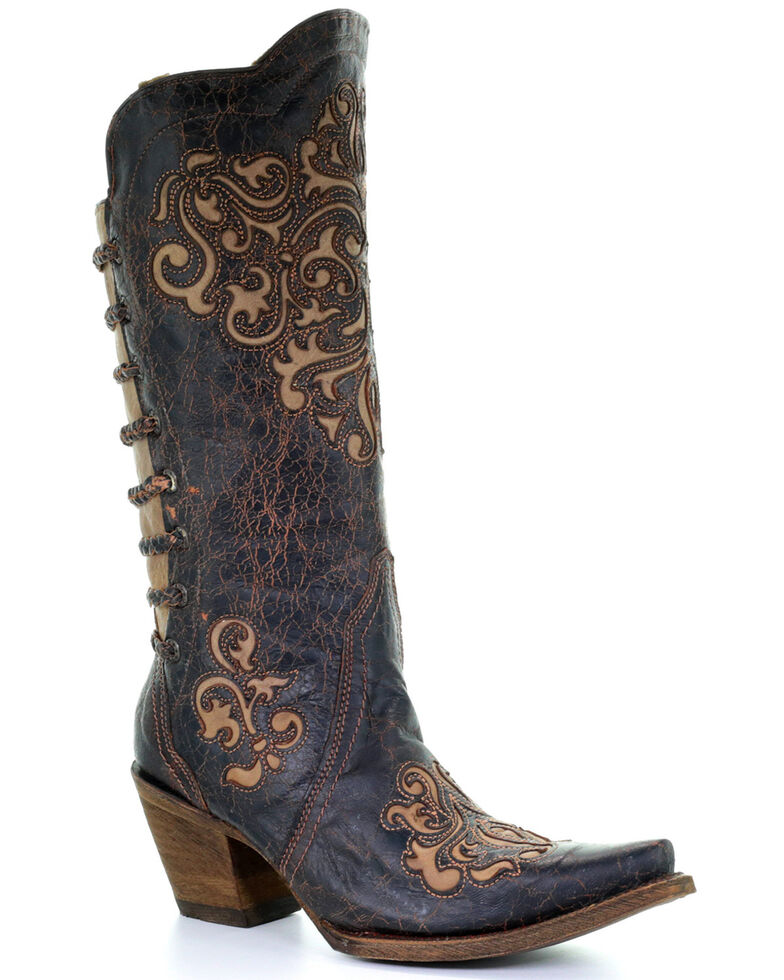 Corral Women's Inlay and Straps Cowgirl Boots - Snip Toe, Black, hi-res