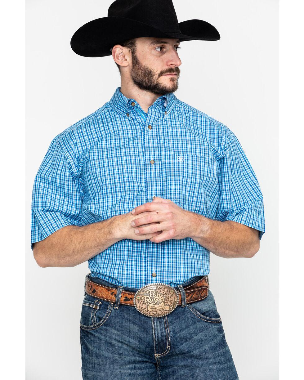 Ariat Men's Eatherton Small Plaid Short Sleeve Western Shirt - Big & Tall , Blue, hi-res