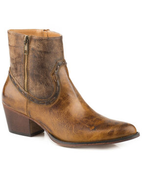 Roper Women's Brie Zipper Western Booties - Round Toe, Brown, hi-res