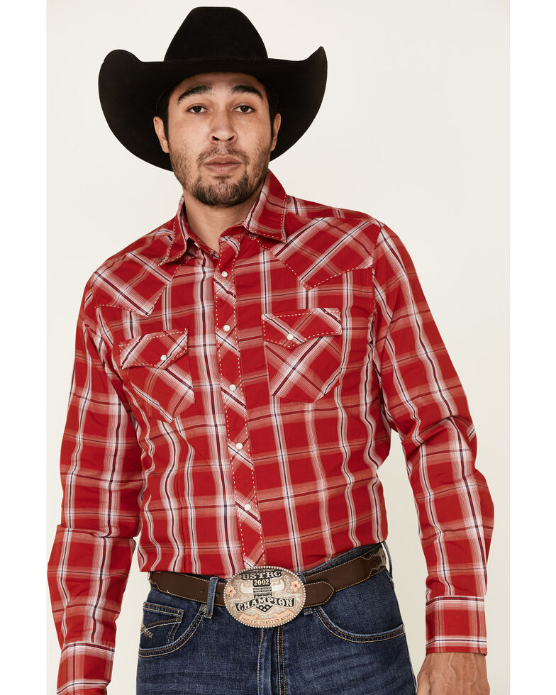 Wrangler Men's Red Large Plaid Long Sleeve Fashion Snap Western Shirt - Tall , Red, hi-res
