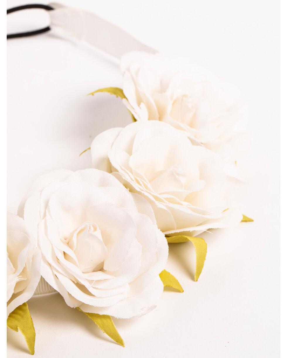 Shyanne Women's White Rose Flower Wreath Headband, White, hi-res