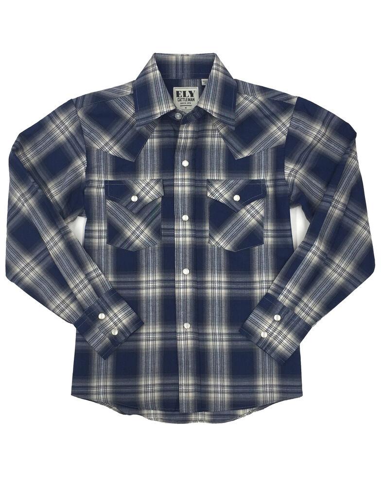Ely Walker Toddler Boys' Assorted Plaid Long Sleeve Western Shirt , Navy, hi-res