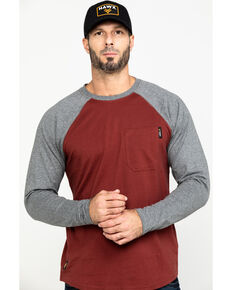 Hawx Men's Red Baseball Raglan Crew Long Sleeve Work Shirt - Tall , Charcoal, hi-res