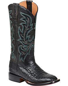 Lucchese Women's Georgia Horseman Exotic Caiman Boots, Black, hi-res