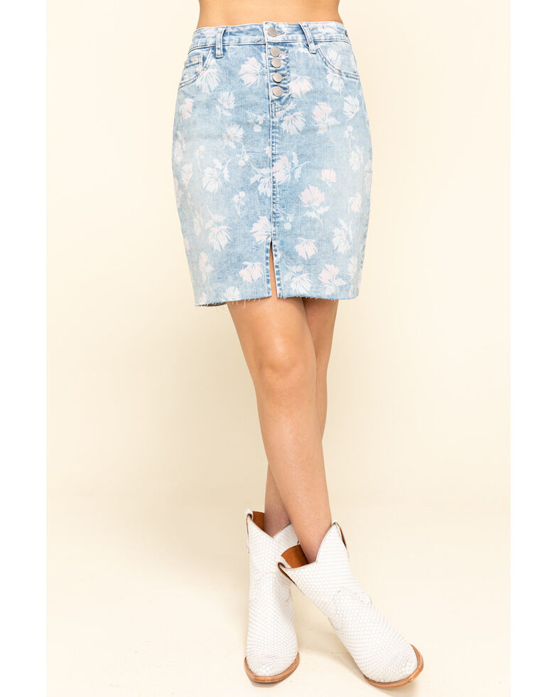 Billy T Women's Blue Botanical Garden Skirt, Blue, hi-res