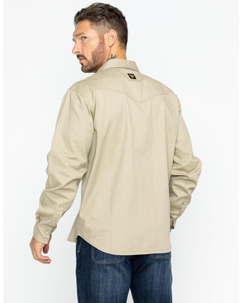 Hawx Men's Khaki Twill Snap Western Work Shirt - Big , Beige/khaki, hi-res