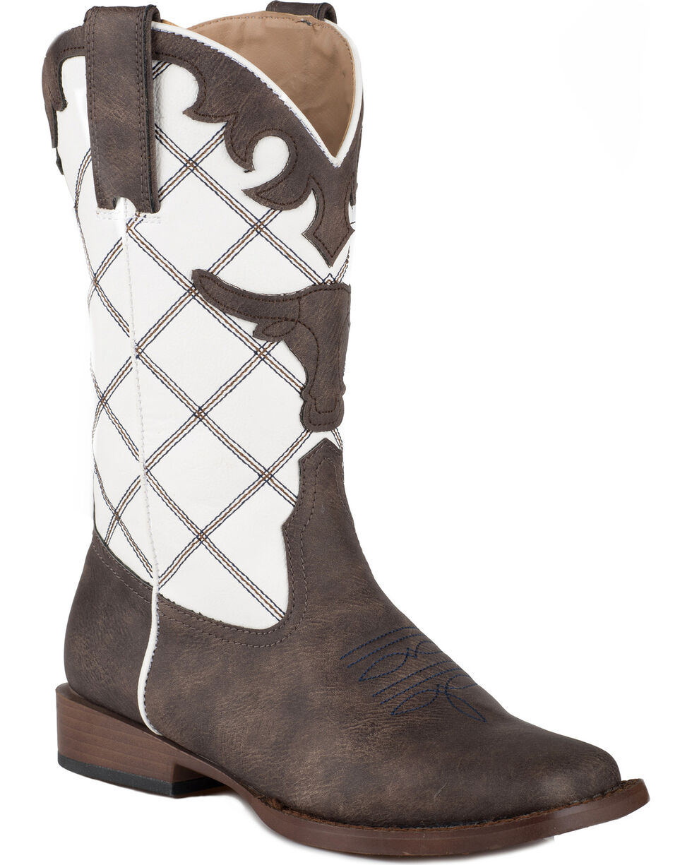 Roper Youth Steerhead Western Boots - Square Toe , Brown, hi-res