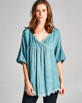 Hyku Women's Blue Color Washed Top , Blue, hi-res