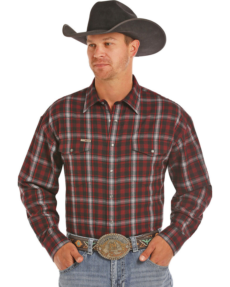 Powder River Men's Red Bandera Brushed Twill Plaid Western Shirt, Red, hi-res
