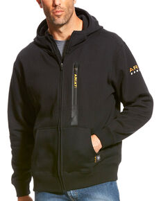 Ariat Men's Rebar Black Full Zip Hoodie, Black, hi-res