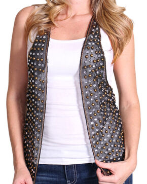 Rock & Roll Cowgirl Women's Studded Rocker Vest, Black, hi-res