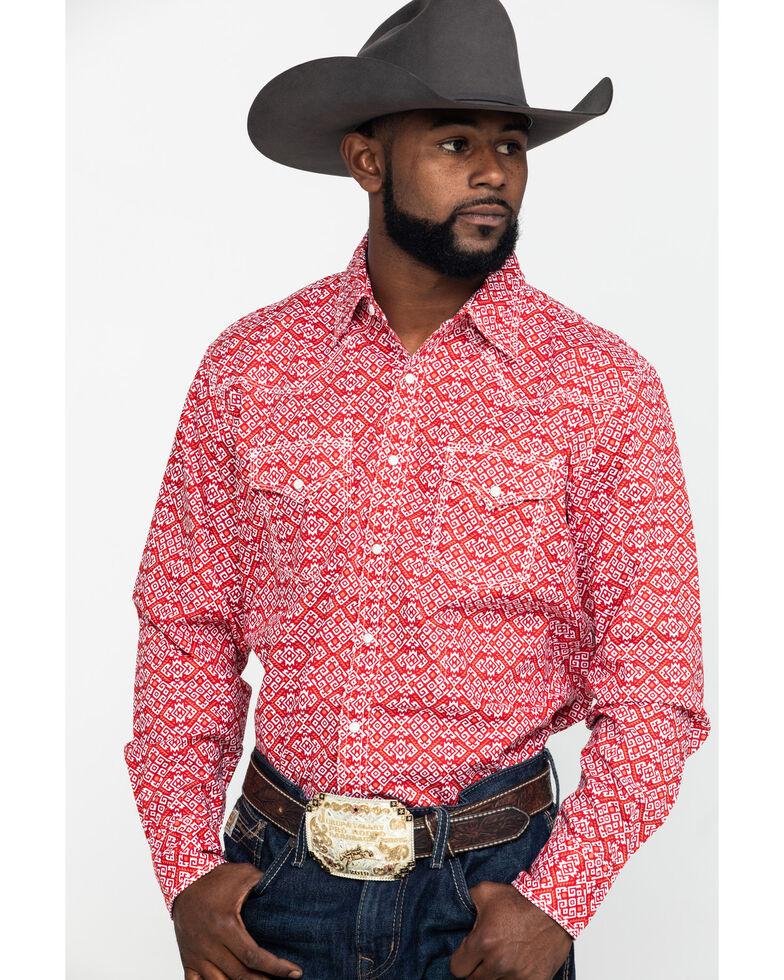 Wrangler 20X Men's Advanced Comfort Red Large Geo Print Long Sleeve Western Shirt , Red, hi-res
