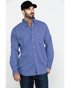 Ariat Men's FR Cobalt Print Liberty Long Sleeve Work Shirt, Blue, hi-res