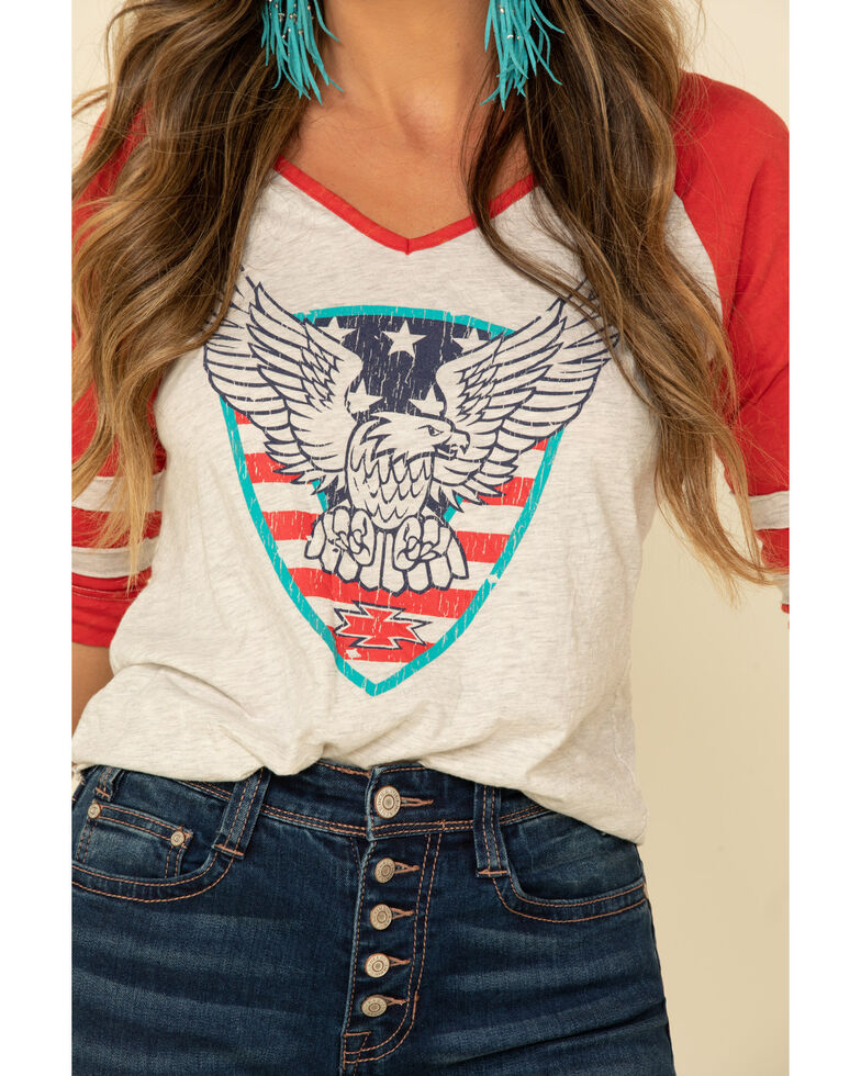 White Label by Panhandle Women's Americana Eagle V-Neck Baseball Tee, Red/white/blue, hi-res
