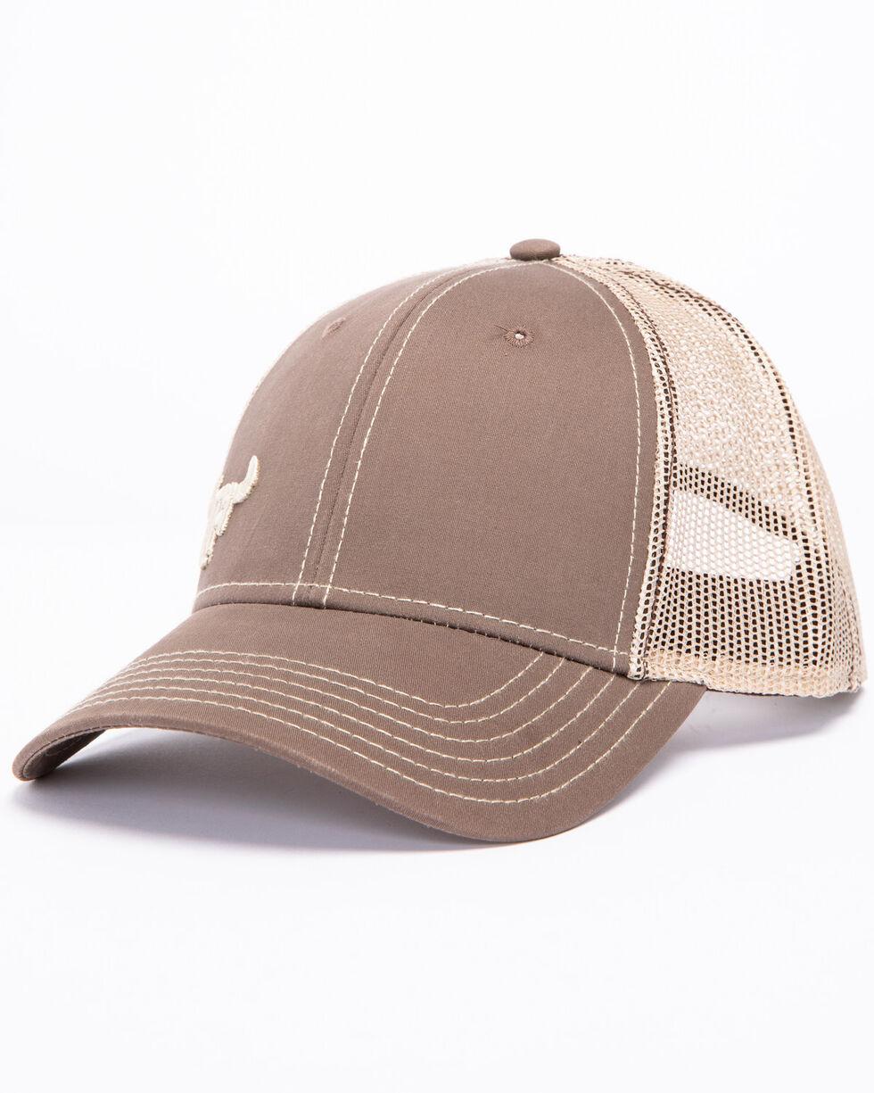Cowboy Hardware Men's Sand Logo Trucker Cap, Brown, hi-res