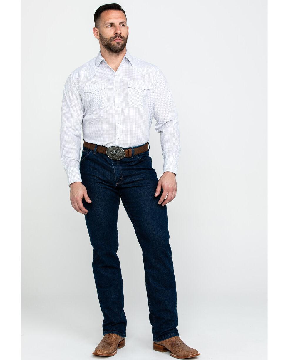 Ely Cattleman Men's White Check Plaid Long Sleeve Western Shirt , White, hi-res