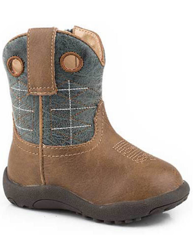 Roper Toddler Boys' Wild Bill Western Boots - Round Toe, Brown/blue, hi-res