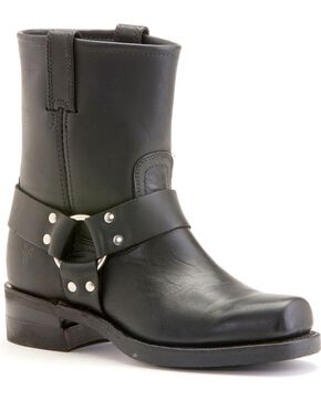 Frye Men's Short Harness Motorcycle Boots, Black, hi-res