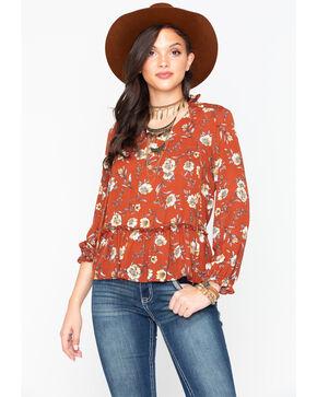 Moa Moa Women's Floral Print Long Sleeve Top, Rust Copper, hi-res