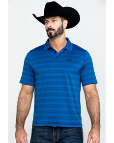 Cinch Men's Arena Flex Blue Striped Short Sleeve Polo Shirt , Blue, hi-res