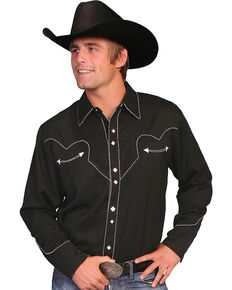 Scully White Retro Western Shirt - Big & Tall, Black, hi-res