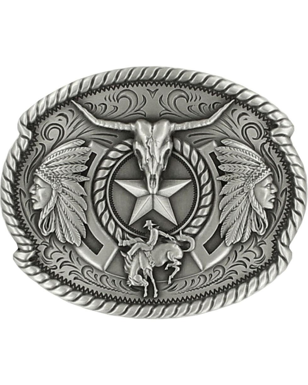 Nocona Men's Western Trifecta Belt Buckle, Silver, hi-res
