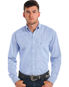 Rough Stock by Panhandle Men's Alford Classic Sport Stripe Shirt , Blue, hi-res
