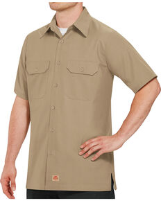 Red Kap Men's Solid Color Rip Stop Short Sleeve Work Shirt - Big & Tall, Khaki, hi-res
