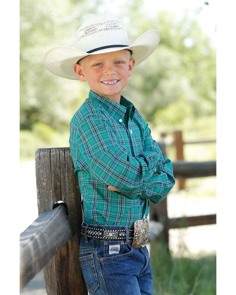 Cinch Boys' Green Plaid Woven Long Sleeve Western Shirt , Green, hi-res